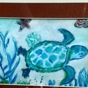 - Sea Turtle Small Matted Painting